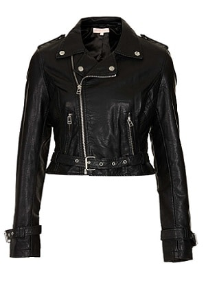 Topshop Black Leather Jacket - Black Widow