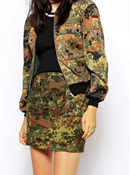 Combat Green Army Camouflage Bomber Jacket
