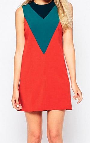 Red-colour-block-shift-dress
