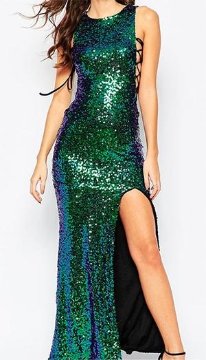 Green Blue Sequin split dress