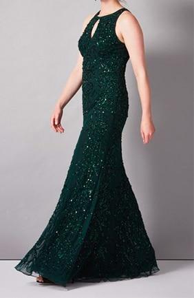 Green sequin floor length dress