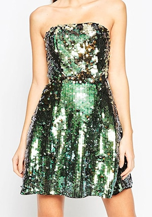 Green sequin strapless dress