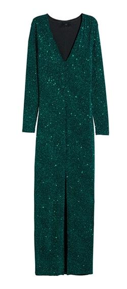 Sparkly full length green dress