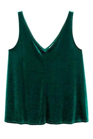 Green velvet top HM