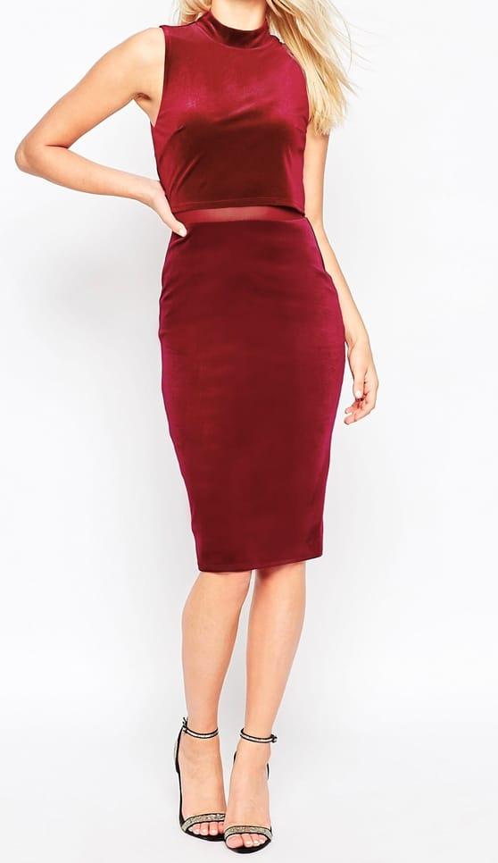 Red velvet body con dress