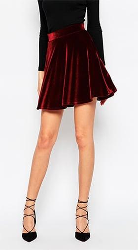 Red velvet skater skirt