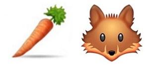 Carot and fox emojis