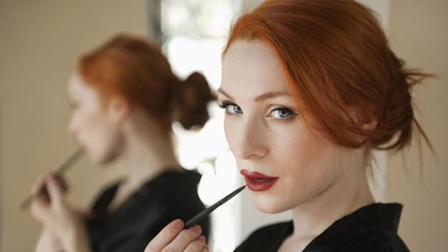 Redhead red lipstick