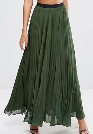 ASOS green maxi skirt