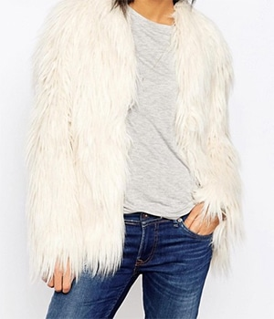 Shaggy White Faux Fur Coat