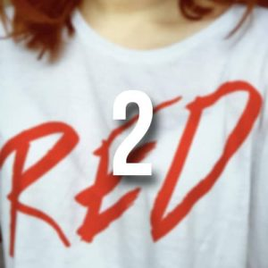 1/3 off 'RED' oversized cropped t-shirt